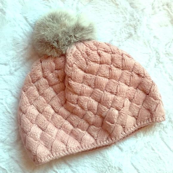 0b69feaec11 Hand knit baby girl pom pom beanie